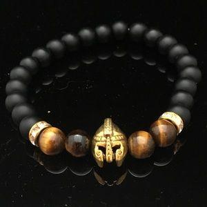 Black, Tiger Eye & Gold Spartan Helmet Bracelet